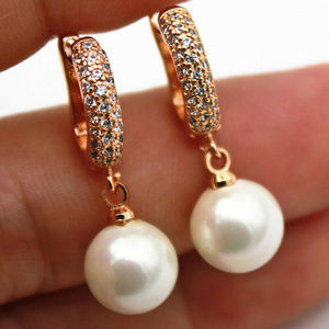 18K Yellow Gold Filled Pearl Topaz Zircon Earrings